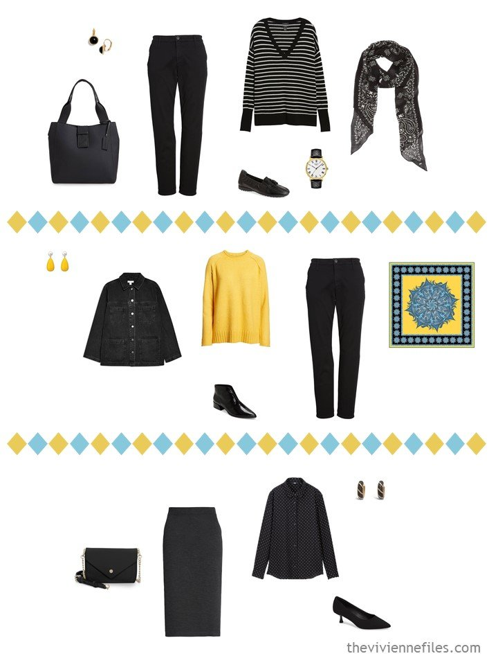 8. 3 outfits from a black, white, turquoise and yellow travel capsule wardrobe