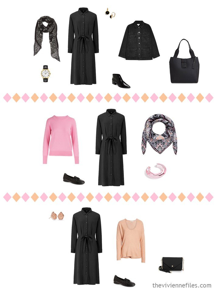 8. 3 outfits from a travel capsule wardrobe in black, white, pink and apricot