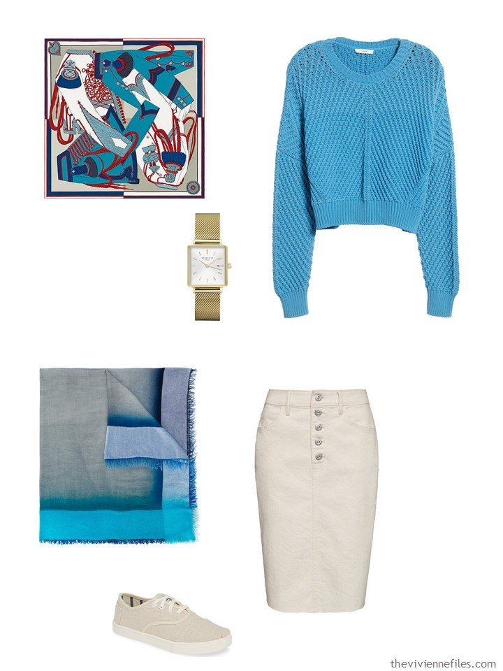 8. beige and turquoise skirt outfit