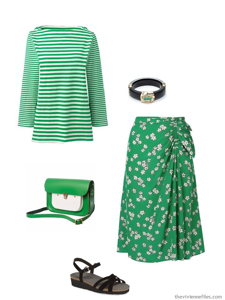 8. green and white stripes and flowers outfit
