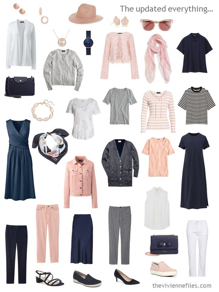 8. accessorized travel capsule wardrobe in navy, white, blush and grey
