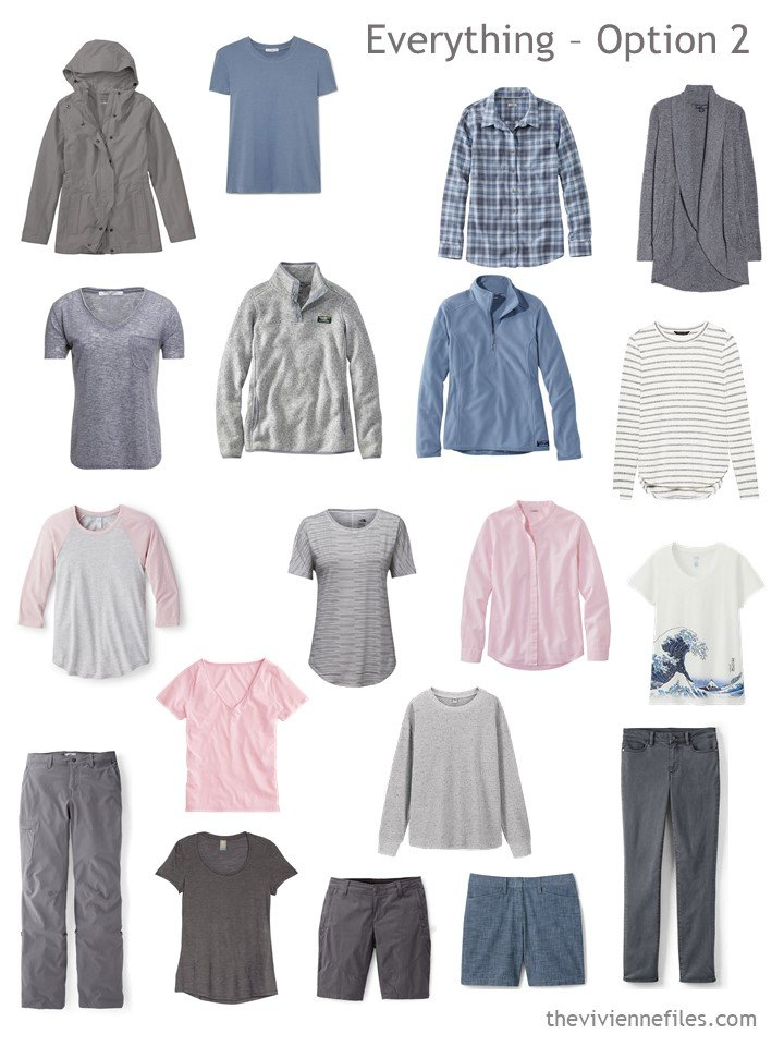 9. 19-piece travel capsule wardrobe in grey, blue and pink