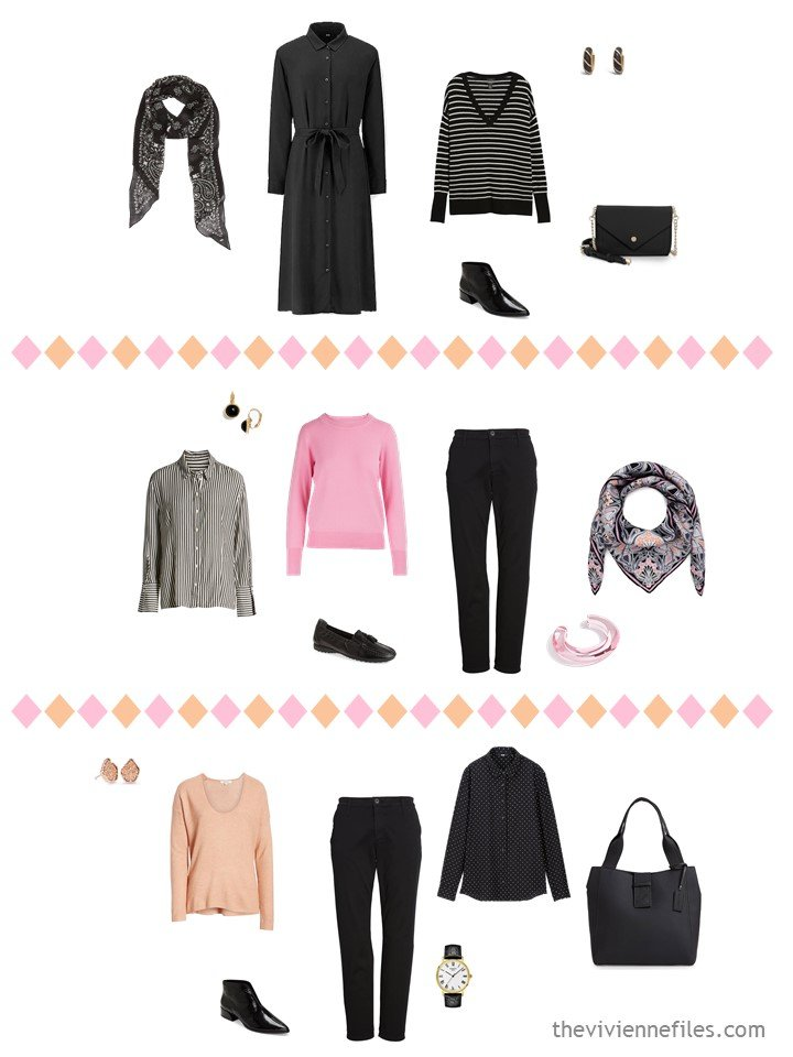 9. 3 outfits from a travel capsule wardrobe in black, white, pink and apricot