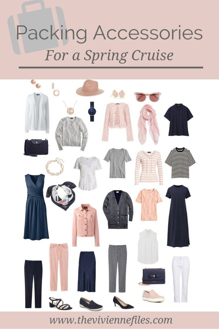 PACKING ACCESSORIES FOR A CRUISE, IN A NAVY, BLUSH, GREY AND WHITE TRAVEL CAPSULE WARDROBE