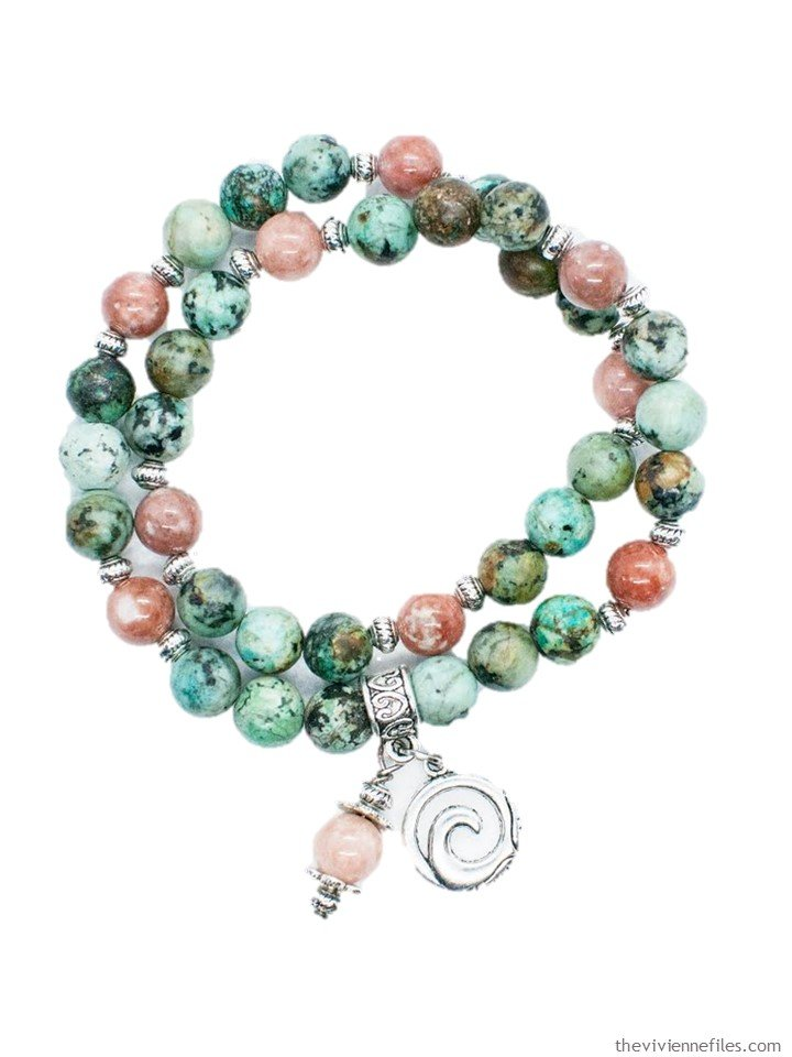 1. African turquoise and cherry blossom jasper bracelet by Fierce Lynx Designs