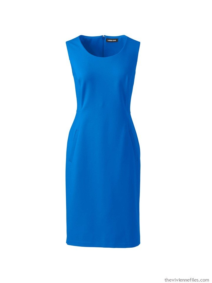 1. blue sleeveless ponte dress from Lands' End