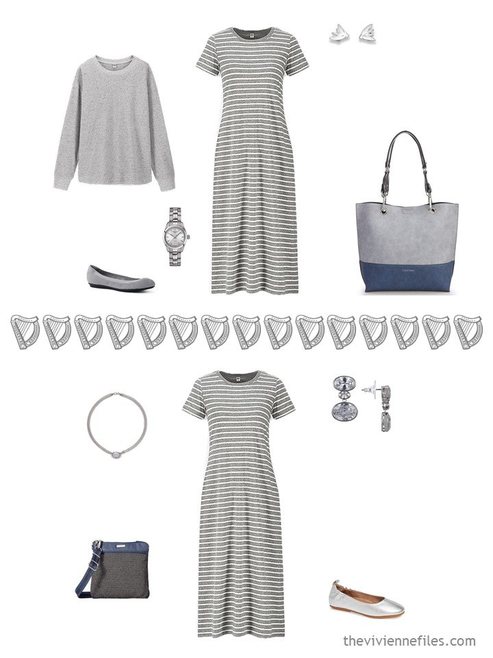 10. 2 ways to wear a grey striped dress from a travel capsule wardrobe