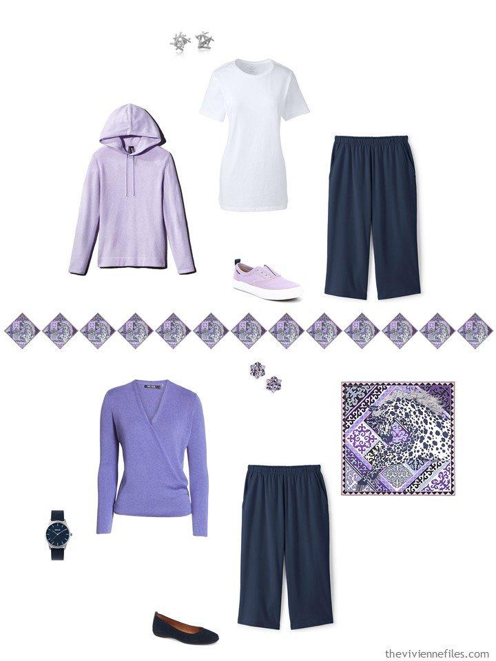 10. 2 ways to wear navy capri pants from a capsule wardrobe