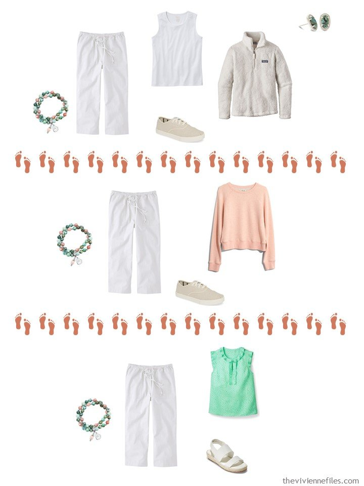 10. 3 ways to wear white capri pants from a Whatever's Clean 13 wardrobe