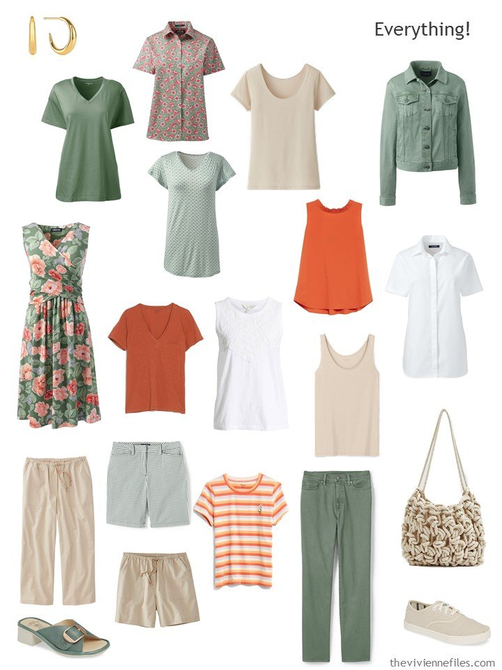 10. capsule wardrobe in green, beige, rust and white