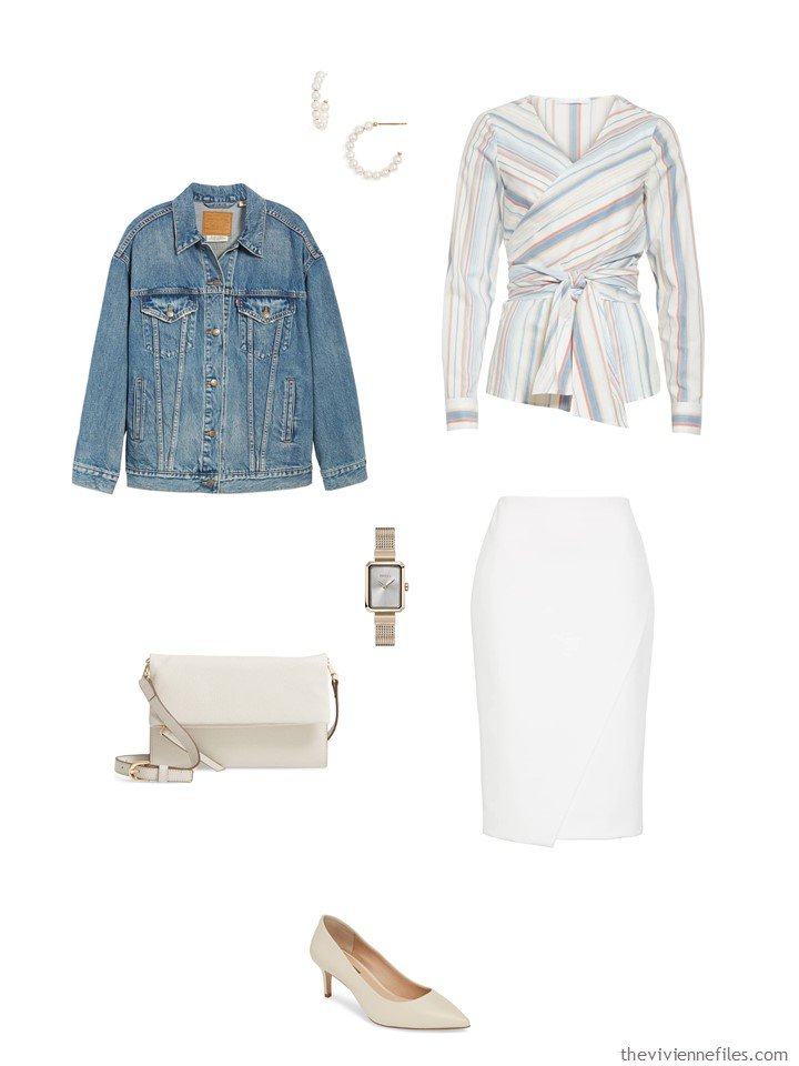 10. print top and white skirt with a denim jacket
