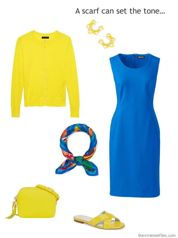 10. royal blue dress with yellow accessories
