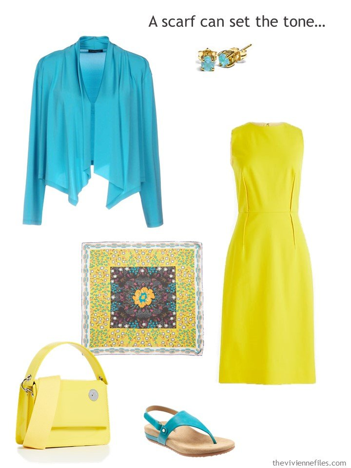 10. yellow dress with turquoise accessories