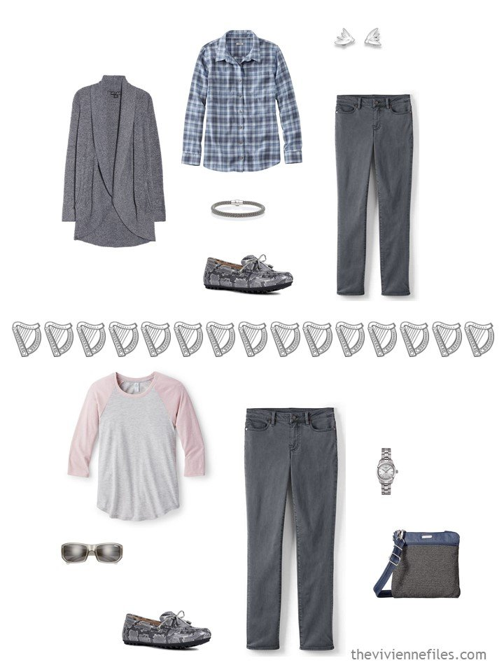 11. 2 ways to wear grey jeans from a travel capsule wardrobe
