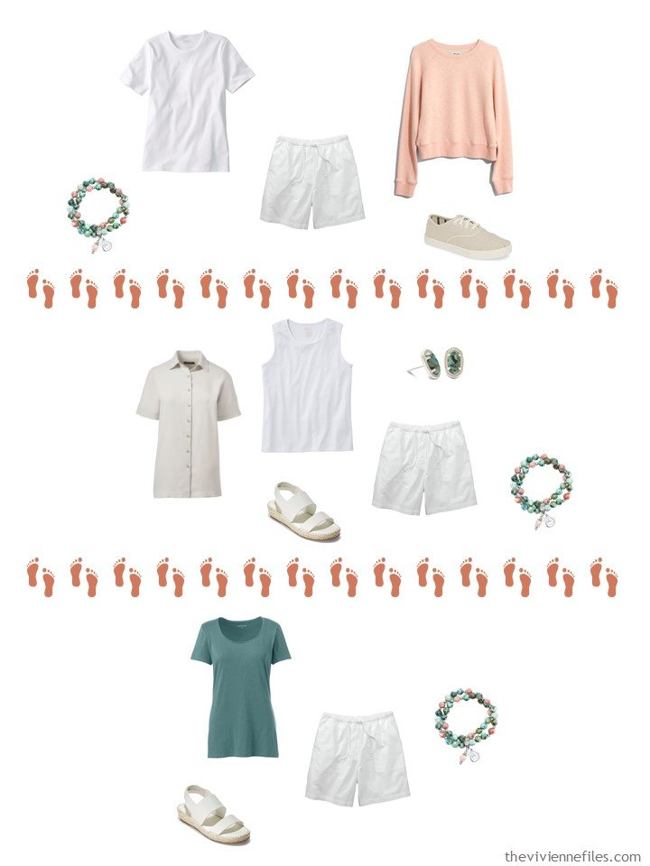 11. 3 ways to wear white shorts from a Whatever's Clean 13 Wardrobe