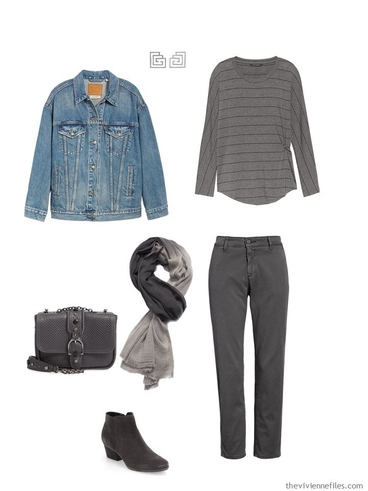 11. charcoal tee shirt and pants with a denim jacket