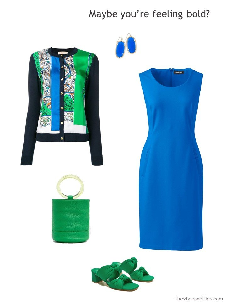 11. royal blue dress with print cardigan and green accessories