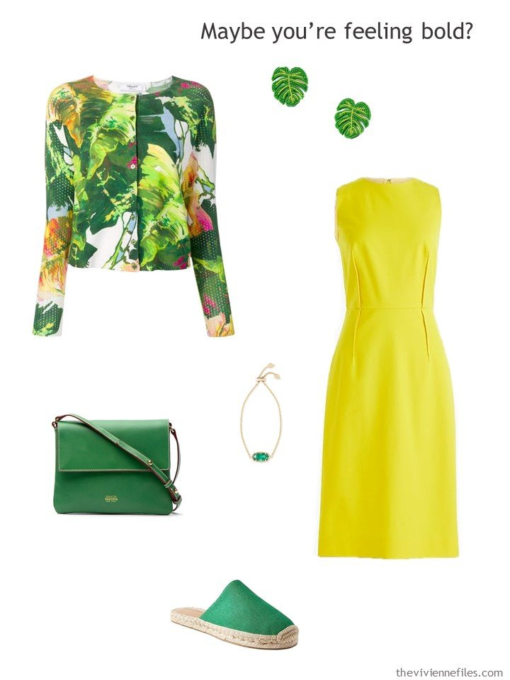 11. yellow dress with green accessories