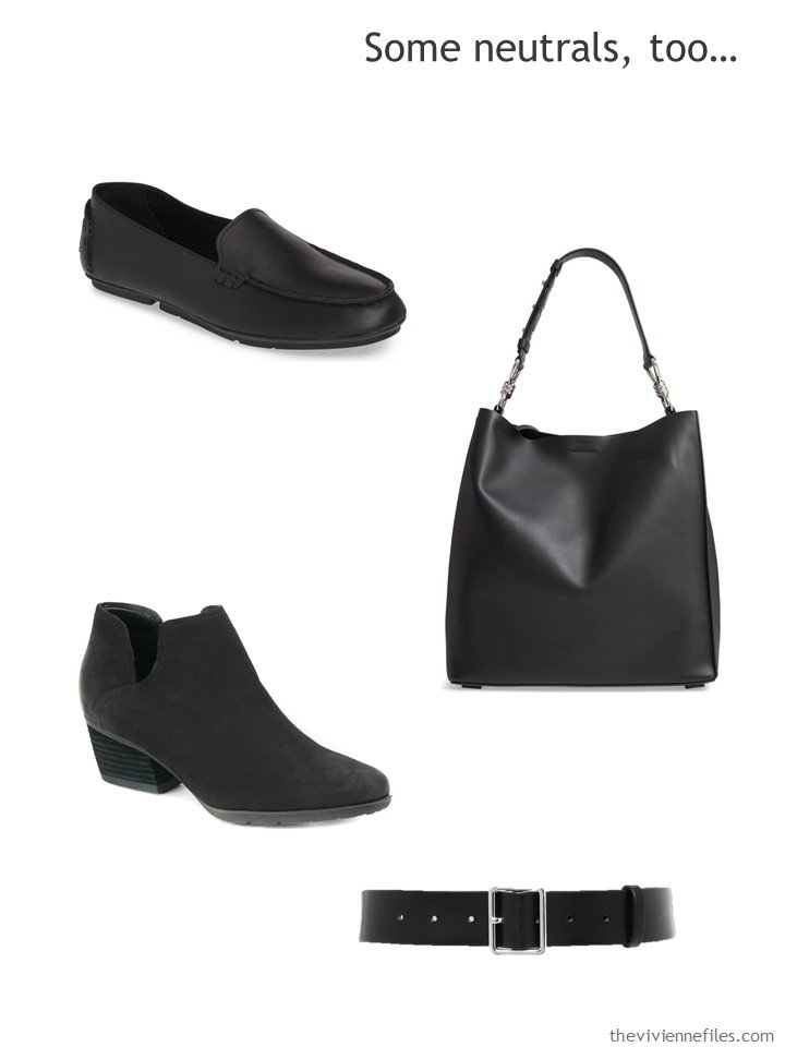 12. adding black leather goods to a capsule wardrobe