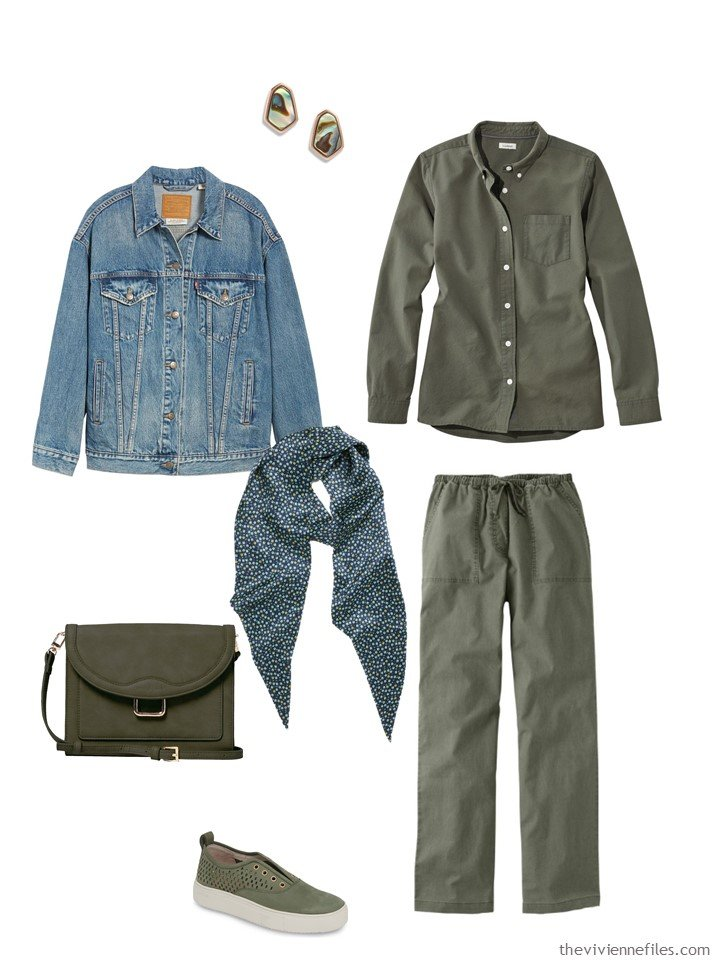 12. green shirt and pants with a denim jacket