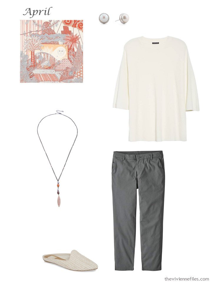 12. ivory and grey capri pants outfit