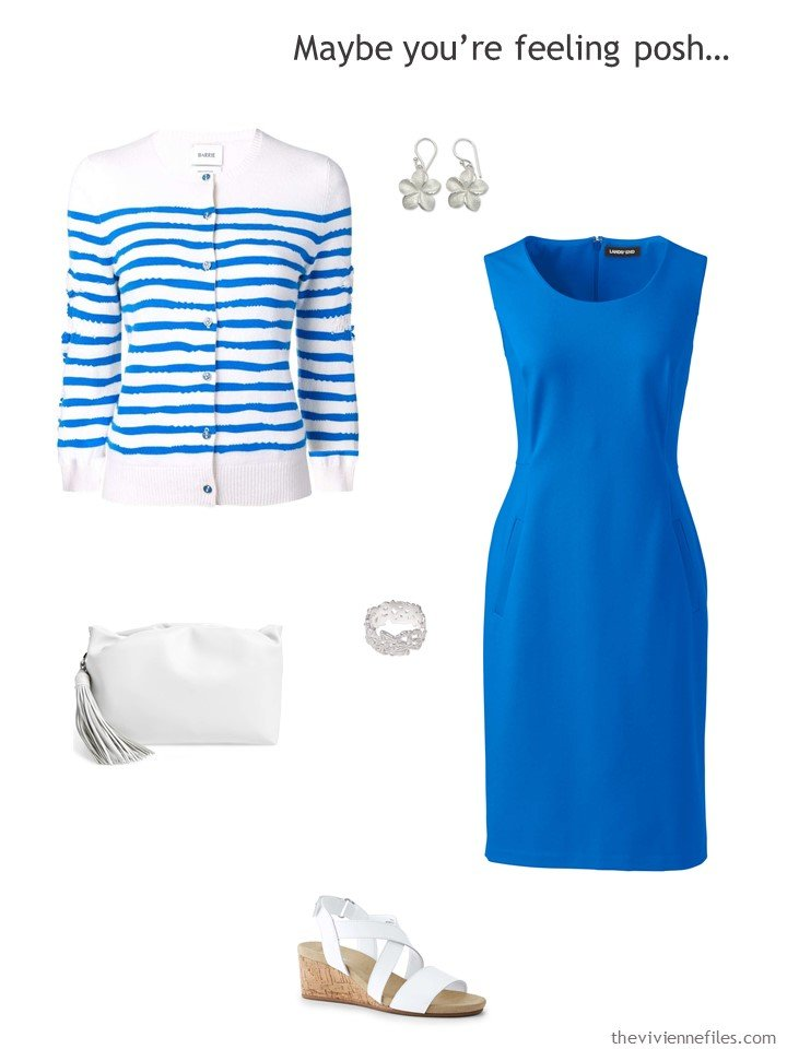 12. royal blue dress with striped cardigan and white accessories