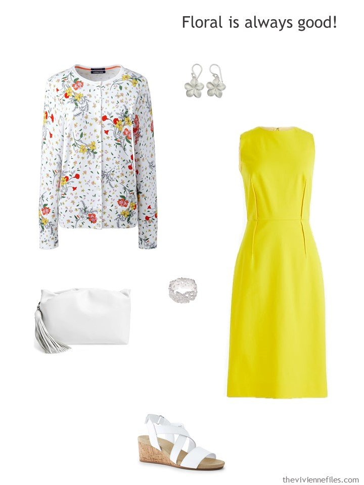 12. yellow dress with white floral accessories