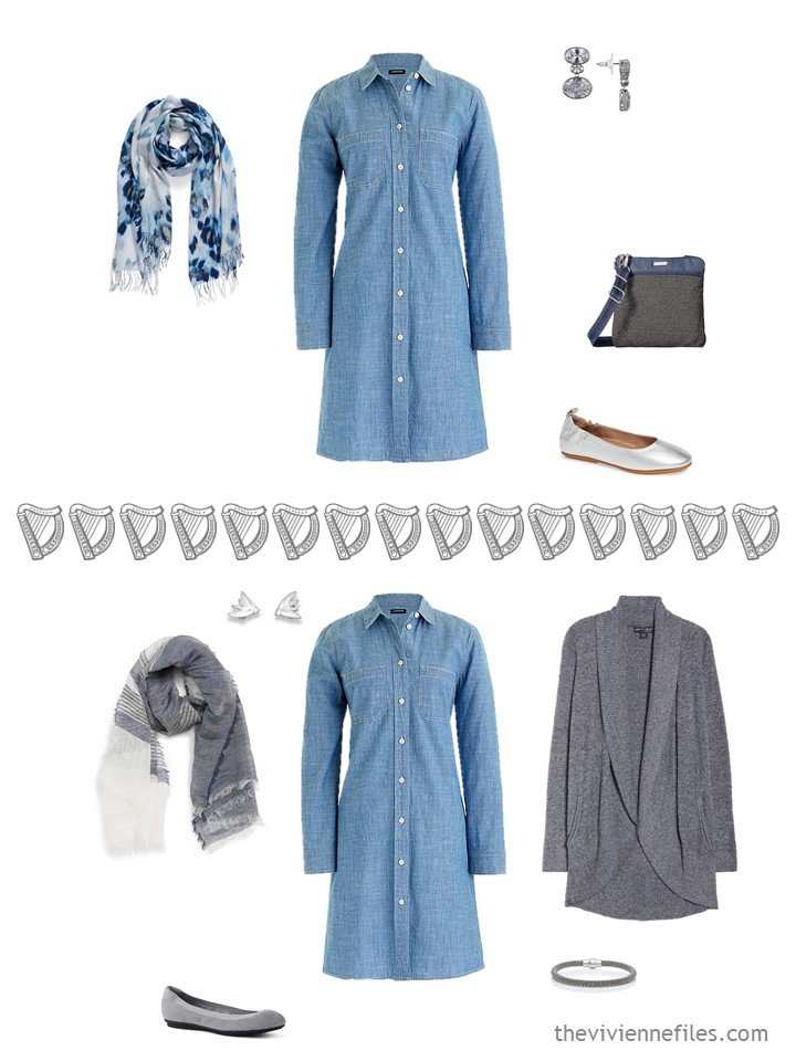 13. 2 ways to wear a denim dress from a travel capsule wardrobe