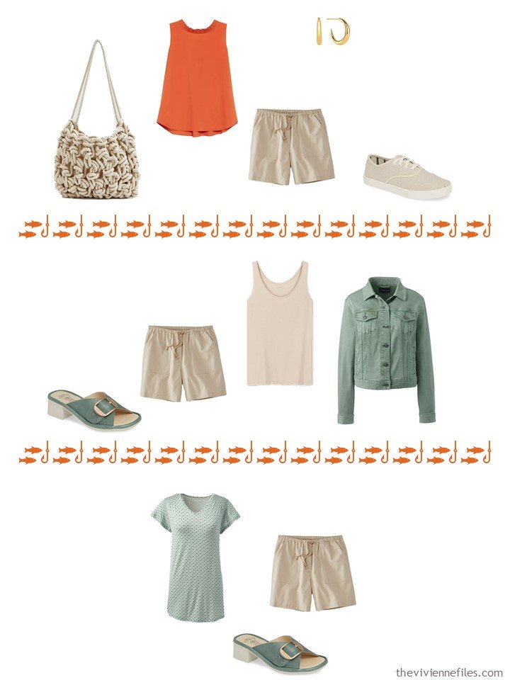13. 3 ways to wear beige shorts from a capsule wardrobe