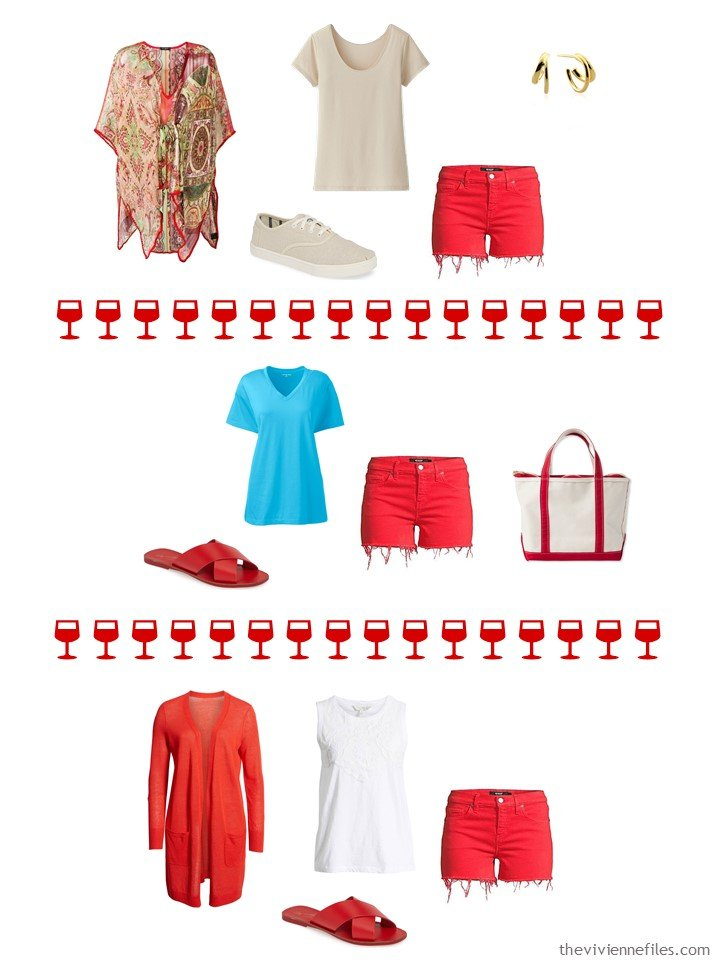 13. 3 ways to wear red shorts from a capsule wardrdobe