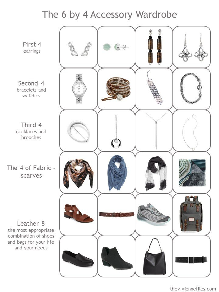 13. a 6 by 4 accessory wardrobe for black, white, denim, brown, aqua and grey