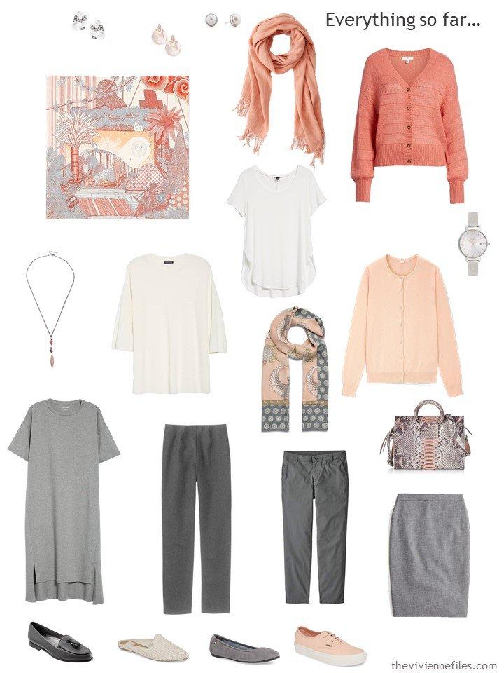 13. capsule wardrobe in grey, ivory and shades of orange