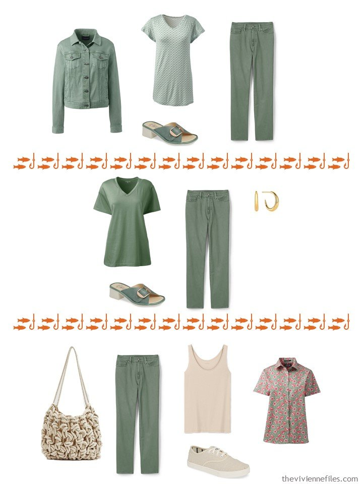 14. 3 ways to wear green pants from a capsule wardrobe