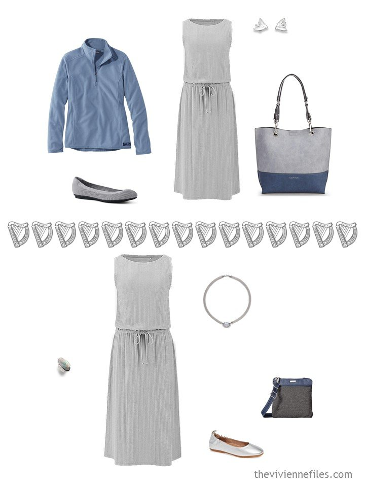 15. 2 ways to wear a grey sleeveless dress from a travel capsule wardrobe