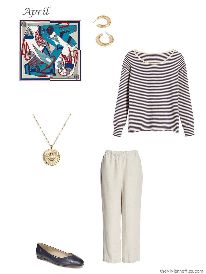 17. navy and beige capri pants outfit