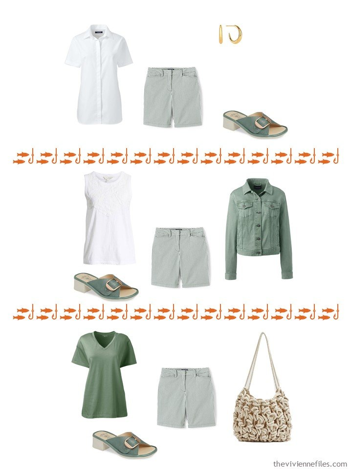 2. 3 ways to wear green print shorts from a capsule wardrobe