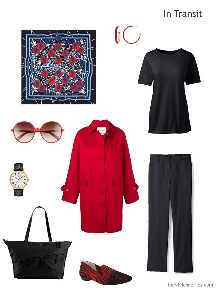 2. black and red travel outfit