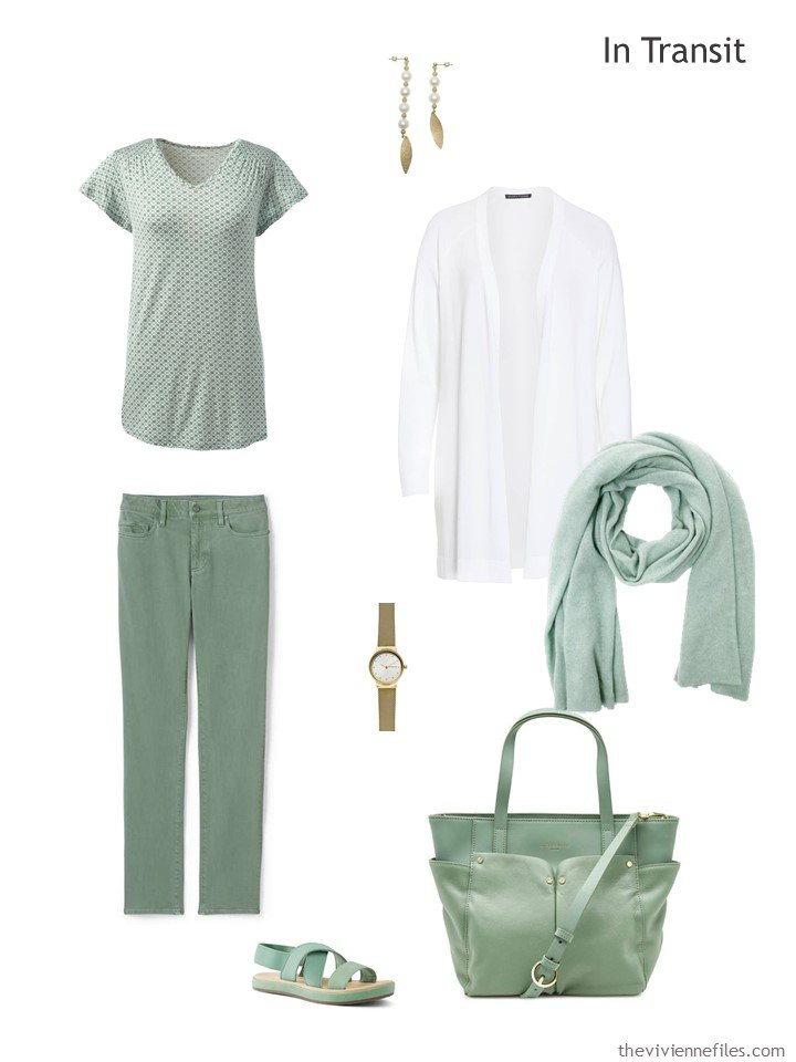 2. travel outfit in green and white for warm weather