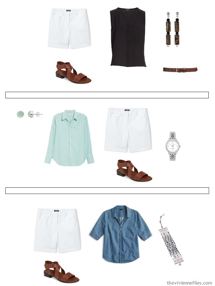 20. 3 ways to wear white shorts from a capsule wardrobe
