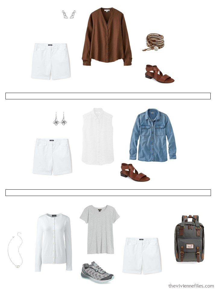 21. 3 ways to wear white shorts from a capsule wardrobe