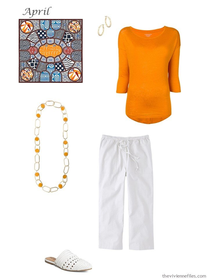 22. outfit with orange sweater and white cropped pants