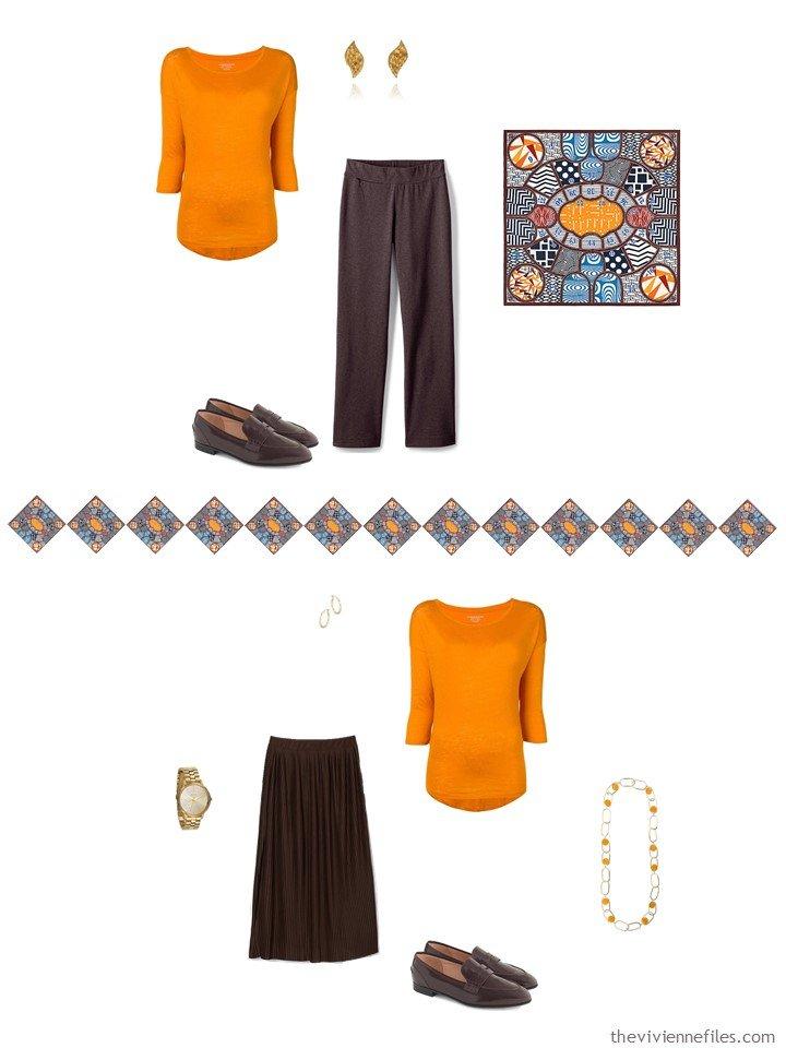 24. 2 ways to wear an orange sweater from a capsule wardrobe
