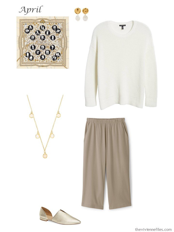 27. ivory and tan capri pants outfit