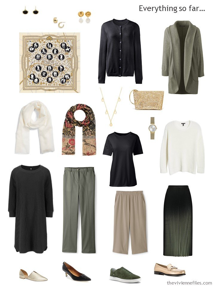 28. capsule wardrobe in black, olive, beige and white