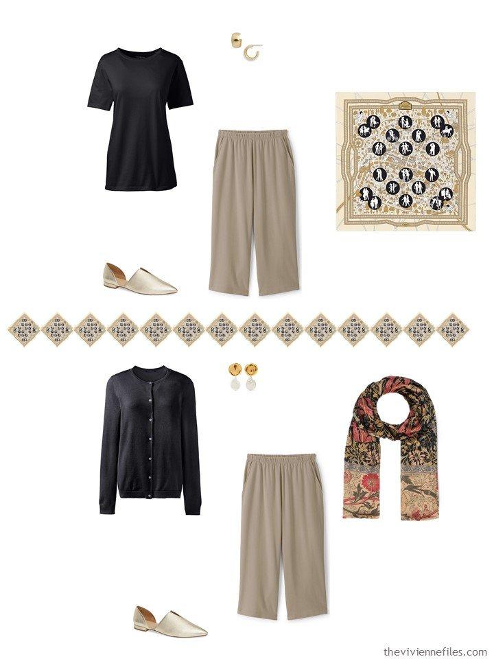 29. 2 ways to wear tan capri pants from a capsule wardrobe