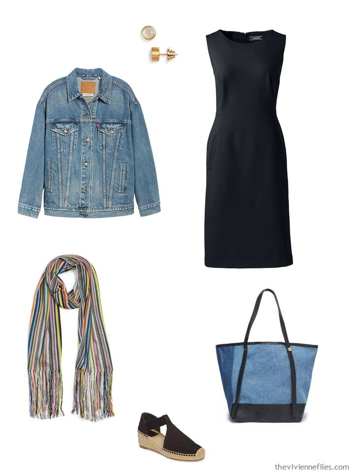 3. black dress with a denim jacket