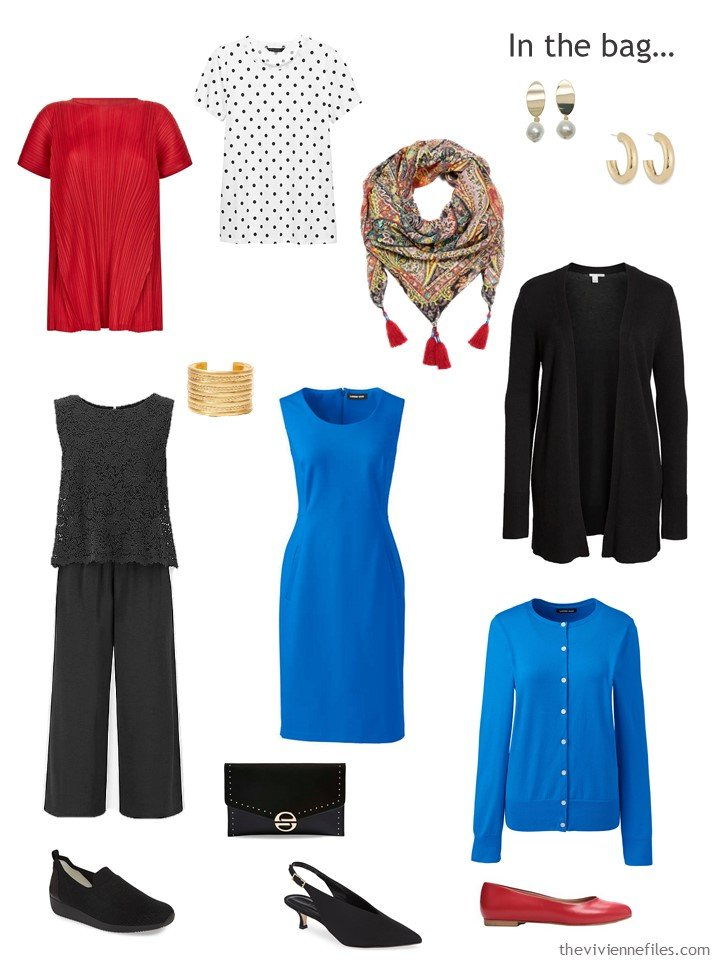 3. black, red, and bright blue Six Pack travel capsule wardrobe