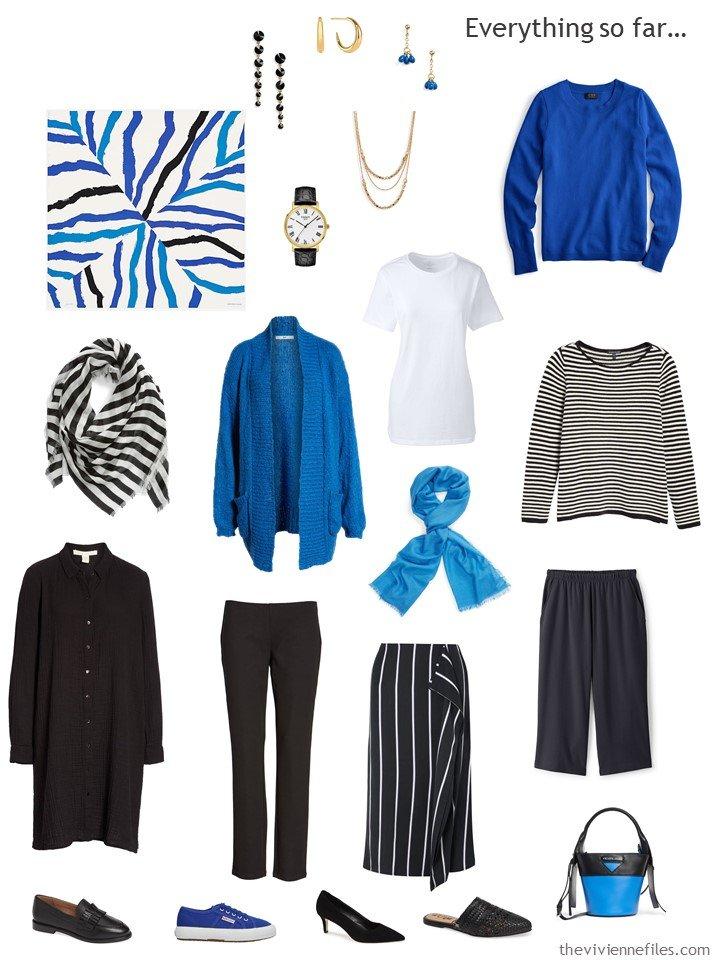 3. black, white and blue capsule wardrobe