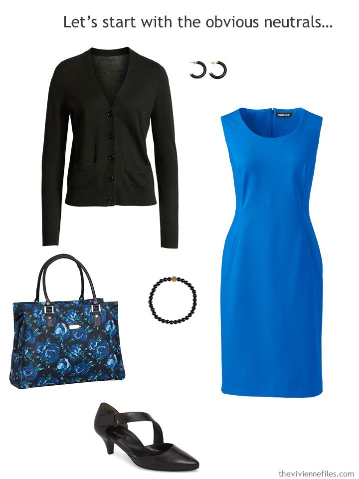 3. royal blue dress with black accessories
