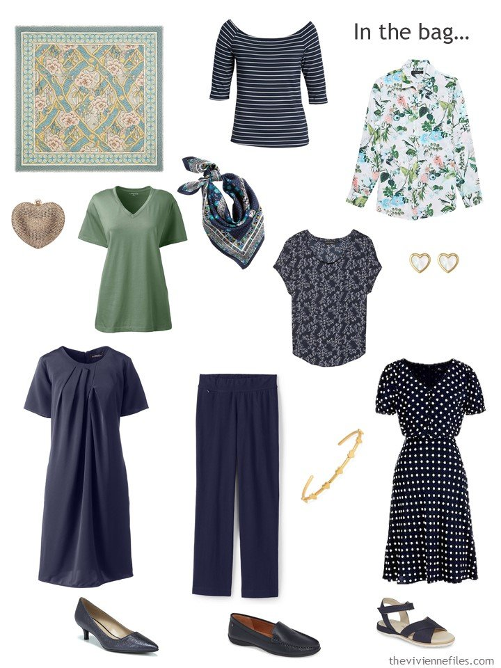 3. travel capsule wardrobe in navy, green and white